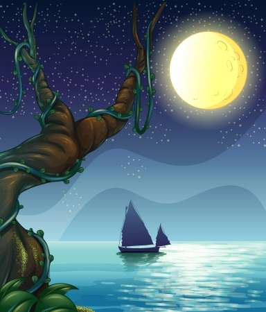 night scenery: Illustration of a boat sailing in the middle of the night