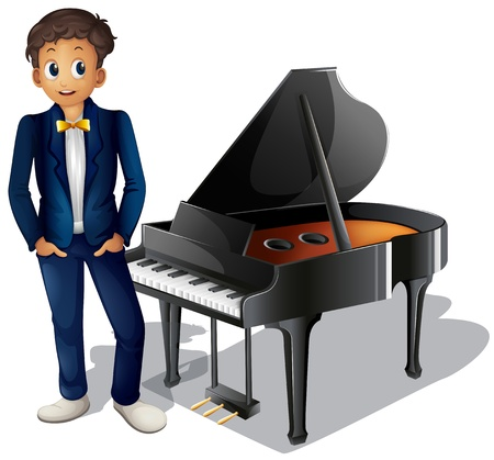 keyboard player: Illustration of a boy beside the piano on a white background
