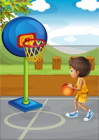 basketball court: Illustration of a little boy playing basketball Illustration