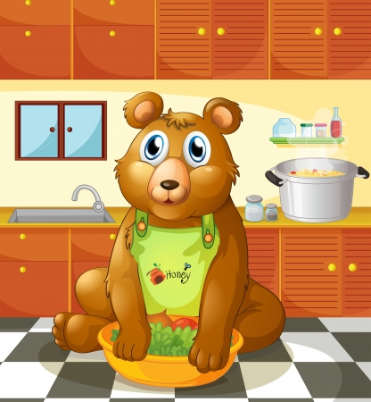 Illustration of a bear holding a bowl of vegetables inside the kitchen Vector