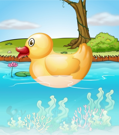 Illustration of the yellow toy duck in the pond Vector