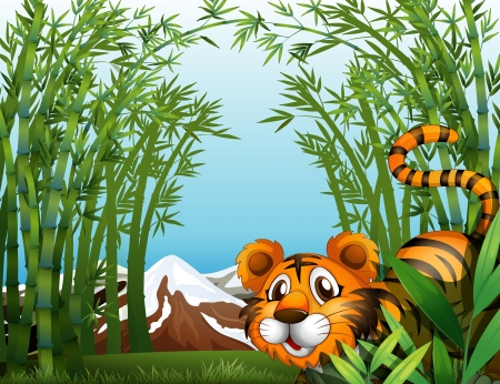 Illustration of a bamboo forest with a tiger Stock Vector - 18287866