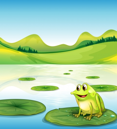 lily pad: Illustration of a frog above the water lilly