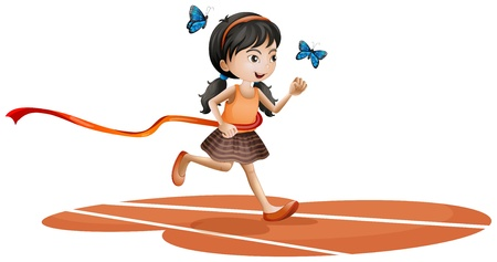 Illustration of a girl running with two blue butterflies on a white background Illustration