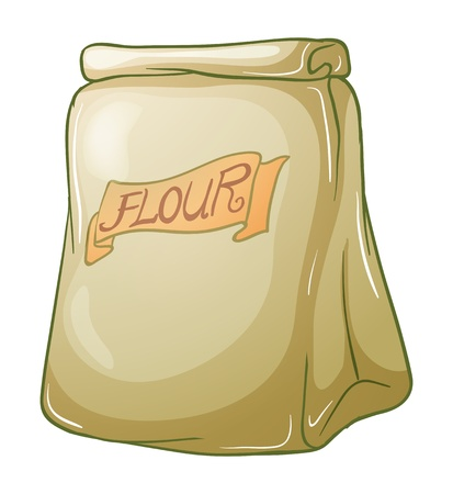 storage container: Illustration of a sack of flour on a white background