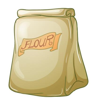 bolsa de pan: Ilustración de un saco de harina en un fondo blanco