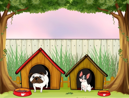 dog park: Illustration of the two pets inside the fence with wooden houses Illustration