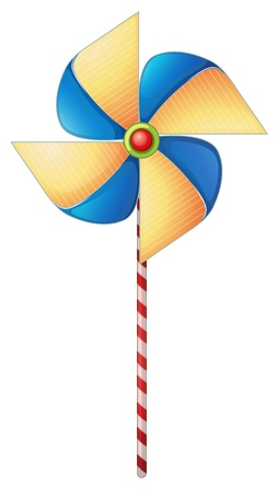 spinning windmill: Illustration of a colorful windmill toy on a white background