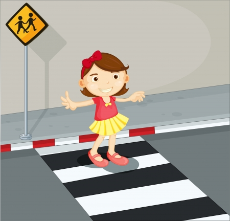 the crossing: Illustration of a girl in the pedestrian lane Illustration