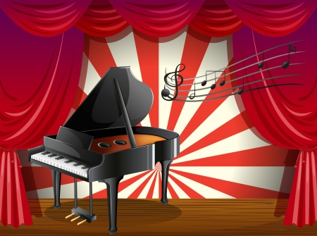pianoforte: Illustration of a piano at the stage with musical notes Illustration
