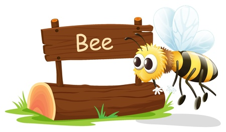 Illustration of a wooden signboard with a flying bee on a white background Illustration