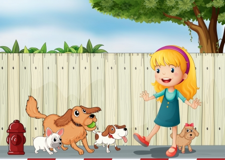 dog walking: Illustration of a girl playing with her dogs