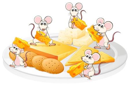 raton caricatura: Ilustración de los cinco ratones con queso y galletas en un fondo blanco
