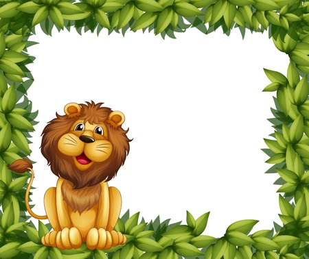 Illustration of an empty leafy frame with a lion Vector