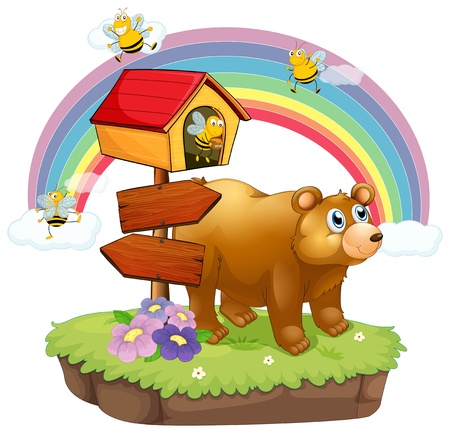 Illustration of a bear and bees near the arrow boards on a white background Vector