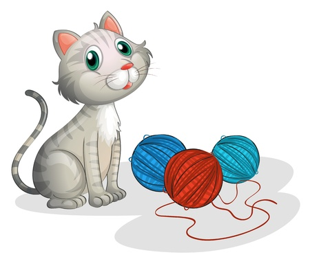 gomitoli di lana: Illustrazione del gatto grigio con i giocattoli su uno sfondo bianco