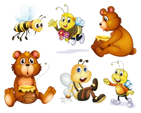 little insect: Illustration of the two bears and four bees on a white background