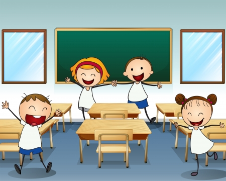 class room: Illustration of kids rehearsing inside the classroom