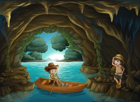 Illustratie van een meisje en een jongen bij de grot