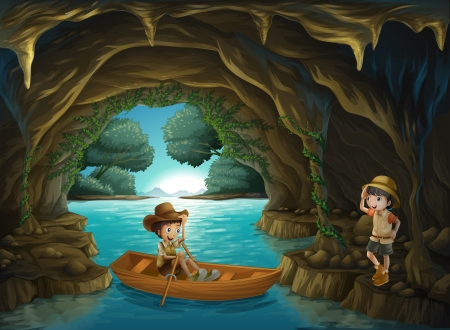 exploring: Illustration of a girl and a boy at the cave