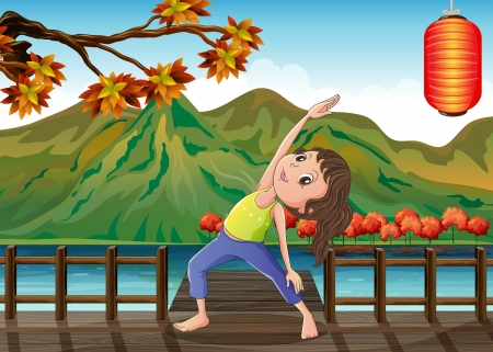tai chi: Illustration of a girl exercising at the bridge with a lantern