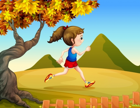 Illustration of a woman jogging at the hills Vector