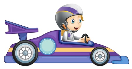 car racing: Illustration of a girl in a racing car on a white backround Illustration