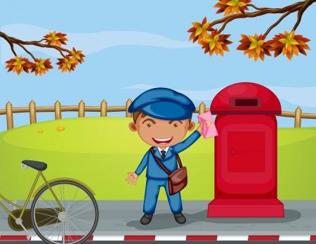 cartero: Ilustraci�n de un mailboy junto a un buz�n de correo electr�nico Vectores