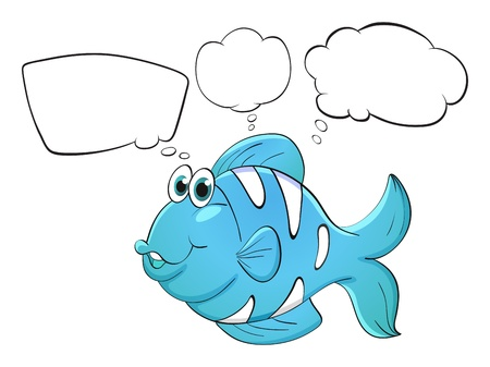 Illustration of a blue fish with empty callouts on a white background Stock Vector - 18287957