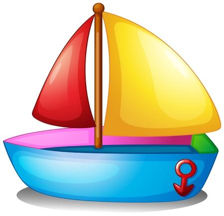 Illustratie van een kleurrijke boot op een witte achtergrond