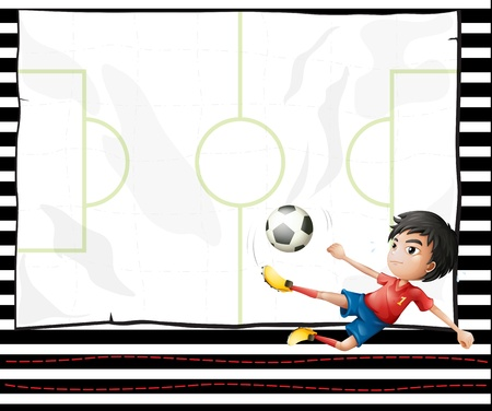 boys soccer: Illustration of a boy playing football and an emtpy stationery Illustration