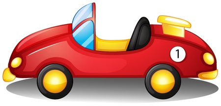 Illustratie van een rode speelgoed auto op een witte achtergrond