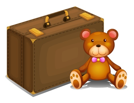 stuff toys: Illustration of a teddy bear beside a big bag on a white background