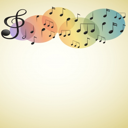 eighth: Illustration of the musical notes and symbols with an empty space on a white background