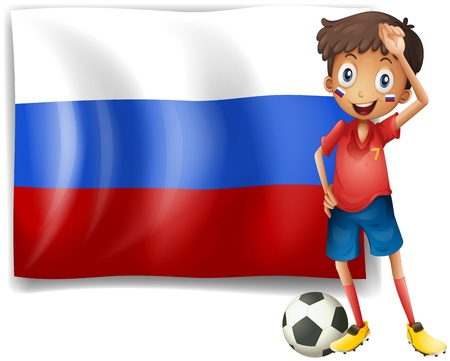 Illustration of a football player beside the flag of Russia on a white background Stock Vector - 18287867