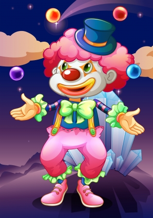 Illustration of the clown with his magic balls Vector