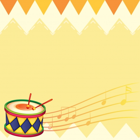 Illustration of a musical drum with musical notes Vector