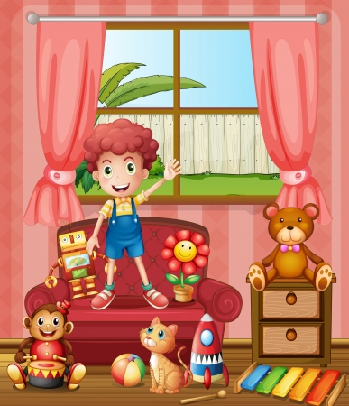 cat: Illustration of a boy with his cat and toys
