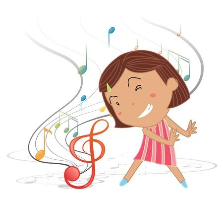 cantando: Ilustración de una niña bailando con las notas musicales sobre un fondo blanco