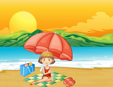 picnic blanket: Illustration of a girl with a book at the beach Illustration