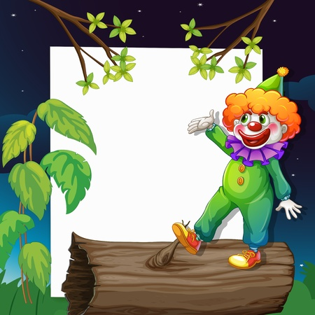 Illustration of a funny clown presenting an empty signage Vector