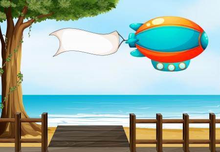 blimp: Ilustraci�n de un avi�n en la playa con una se�alizaci�n vac�a Vectores