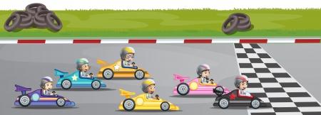 Illustratie van een autosport wedstrijd