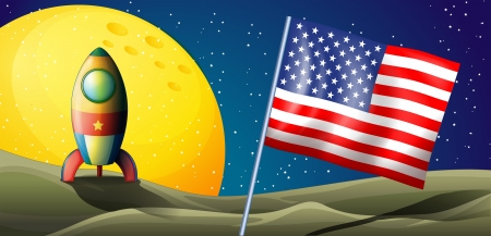 Illustration of a spaceship landing with a USA flag