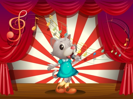Illustration of a female rat performing at the stage Vector
