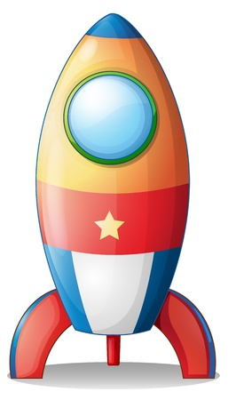 cartoon rocket: Illustration of an airship toy on a white background