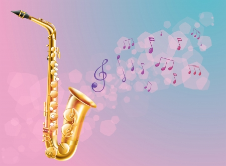 sounds: Illustration of a saxophone with musical notes