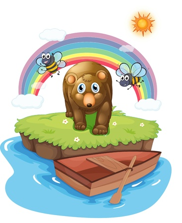 Illustration of an island with a big bear and bees on a white background Vector