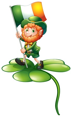 feast of saint patrick: Illustration of a man above a clover plant holding the flag of Ireland on a white background Illustration