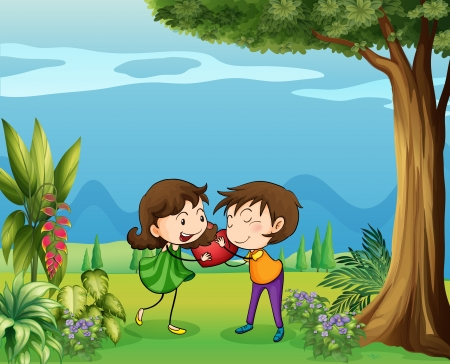 love cloud: Illustration of the two lovers in the forest